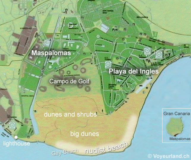 Map of Maspalomas Playa del Ingles on Gran Canaria